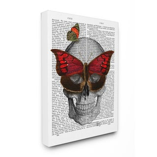 Skull With Butterflies' Newspaper Print Wood 16-inch x 1.5-inch x 20-inch Wall Plaque Art