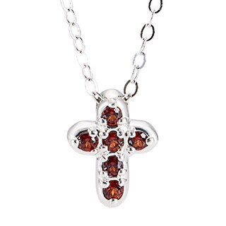 Sterling Silver Birthstone Cross Pendant Necklace