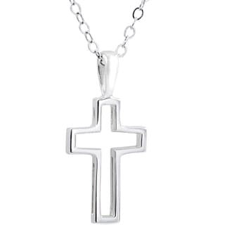 Sterling Silver Cutout Cross Pendant With Chain