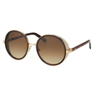 Jimmy Choo JC Andie J7G Gold And Brown Metal Round Brown Gradient Lens Sunglasses