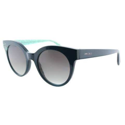 Jimmy Choo JC Mirta Q4S Petroleum Plastic Cat-Eye Grey Gradient Lens Sunglasses