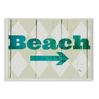 Wood Beach With Arrow Wall Plaque Art