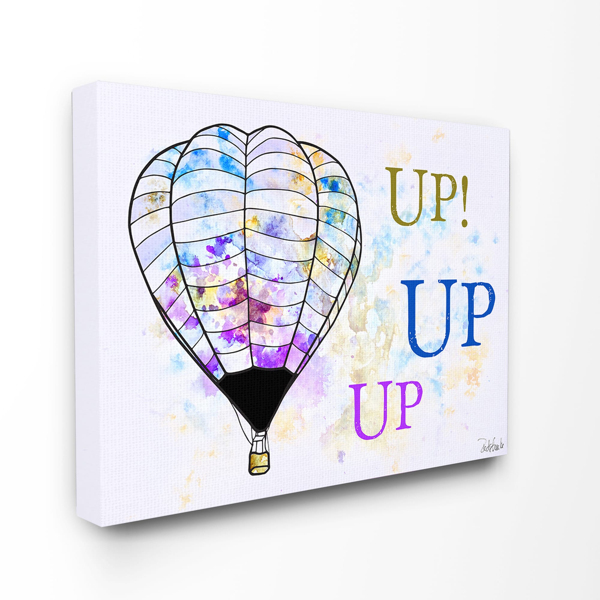 Stupell Up Up Up' Hot Air Balloons Watercolor Wall Plaque...
