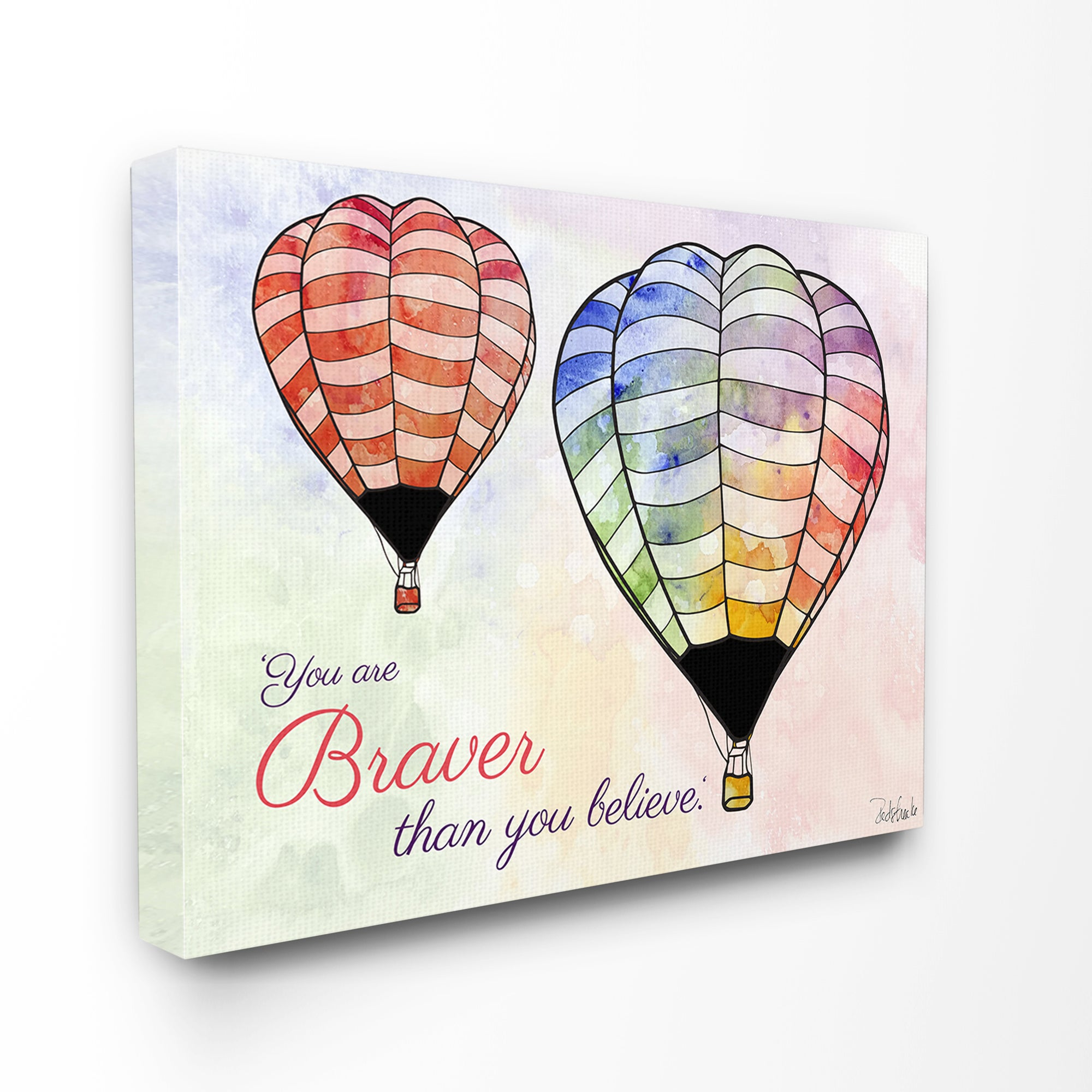 Stupell Watercolors 'You Are Braver' Hot Air Balloons Unf...