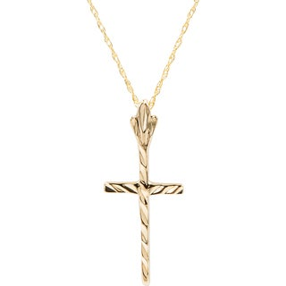 10k Yellow Gold Texture Cross Pendant with 18-inch Chain