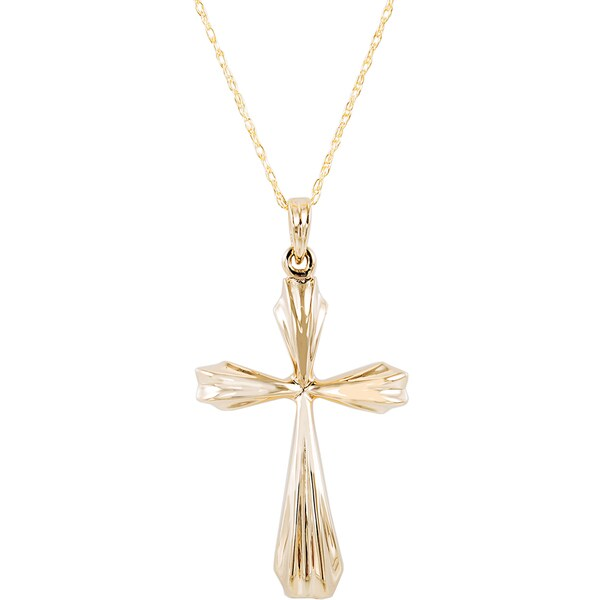 3ea3f7ecc1cf8c Shop Yellow Gold 10 karat Cross Pendant Necklace - Free Shipping ...