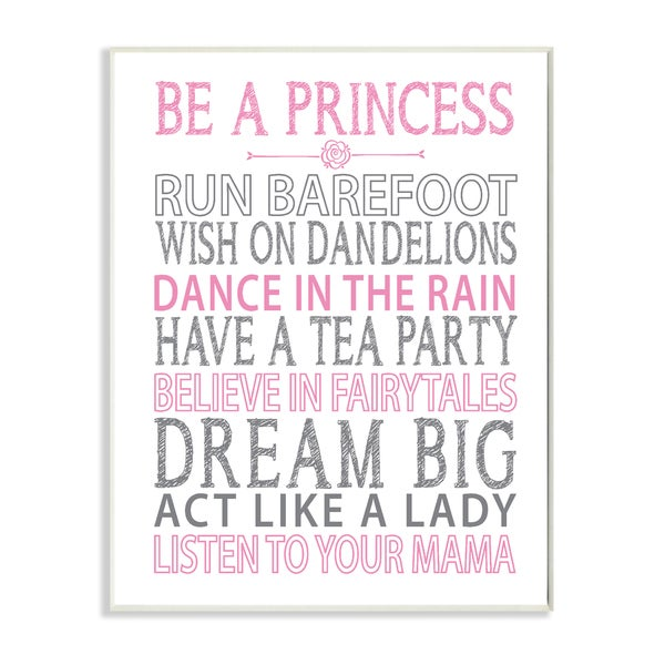 Be a Princess Pink Typog Wall Plaque Art