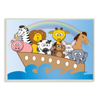 Noah's Ark With Rainbow Unframed Wall Art