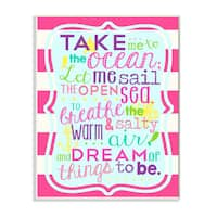 Girl's Take Me To The Ocean' Unframed Wall Plaque Art