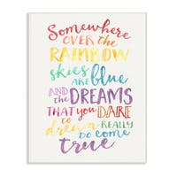 'Somewhere Over the Rainbow' Multicolored Wooden Wall Plaque Art