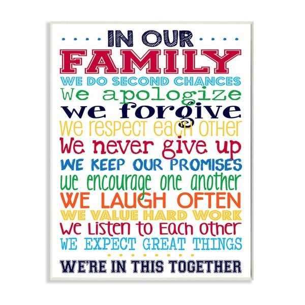 In Our Family Rainbow' Typography Wall Plaque Art