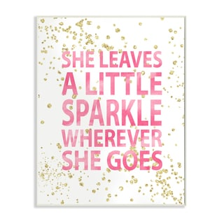 She Leaves a Little Sparkle' Pink/White Wooden Wall Plaque