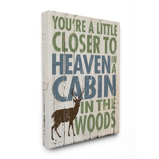 Closer to Heaven in a Cabin' Multicolored Wooden Stretched Canvas Wall Art