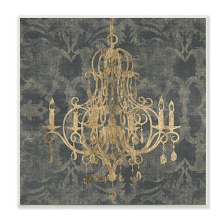 Wooden Damask Chandelier-themed Stretched Canvas Wall Art
