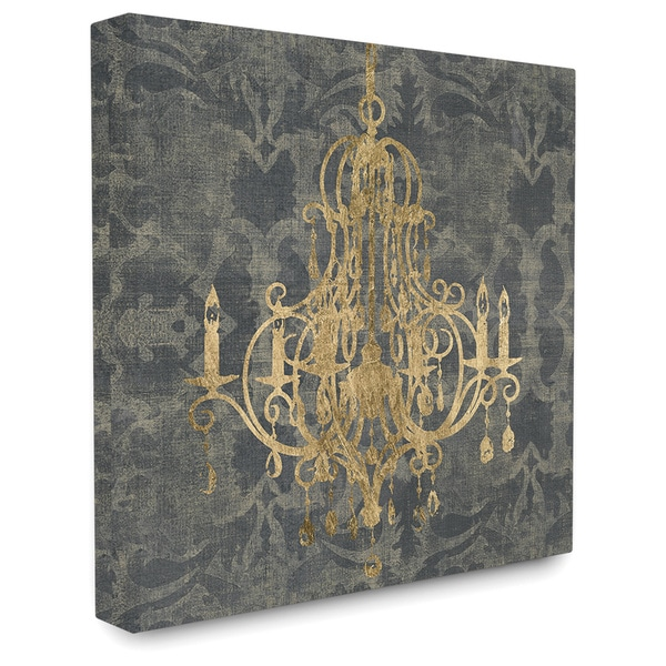 Wooden Damask Chandelier Themed Stretched Canvas Wall Art