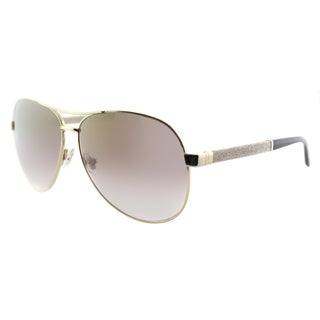 Jimmy Choo JC Lexie EJU Rose Gold Metal Aviator Gold Gradient Mirror Lens Sunglasses