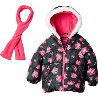 London Fog Girls' Grey/Pink Print Polyester/Acrylic/Faux Fur Jacket