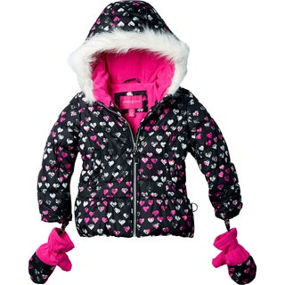 London Fog Girls' Heart Print Hooded Jacket