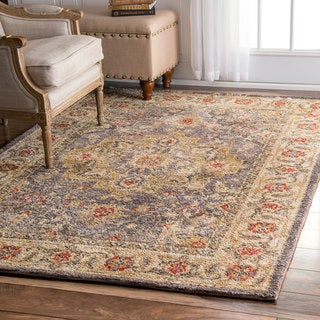 nuLOOM Traditional Persian Grey Rug (7'6 x 9'6)