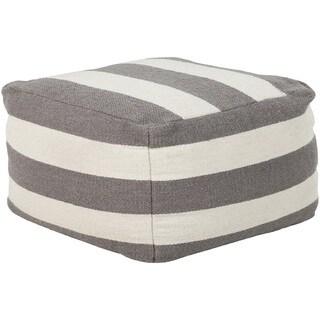 Striped Jaci Square Wool Pouf (24 x 24 x 13)