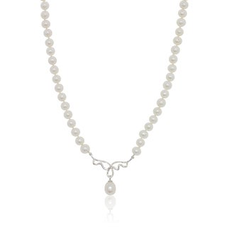 Pealyta Sterling Silver 6- to 9-millimeter Freshwater Pearl Center Design Necklace