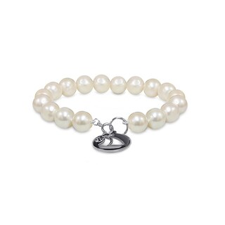 Pearlyta Nautica Sterling Silver Freshwater Pearl 10 to 11-millimeter Bracelet