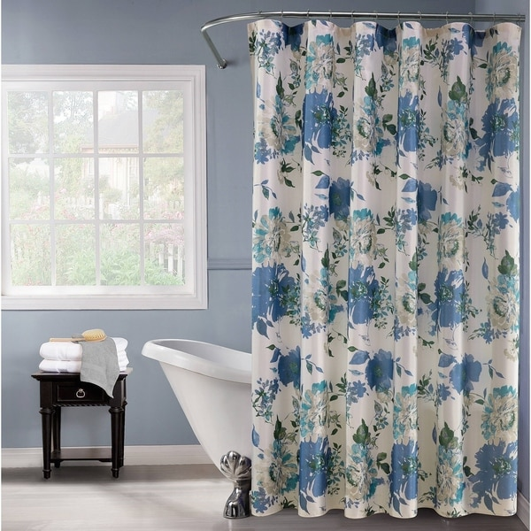 Lurex Fabric Shower Curtain Watercolor Floral