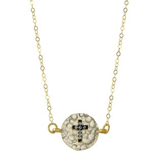 Brass Cross Charm Necklace