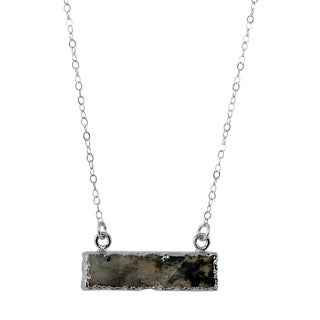 Labradorite Bar Pendant on Sterling Silver Chain