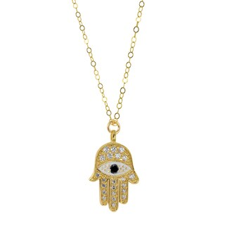 Hamsa Goldtone Brass Charm Necklace