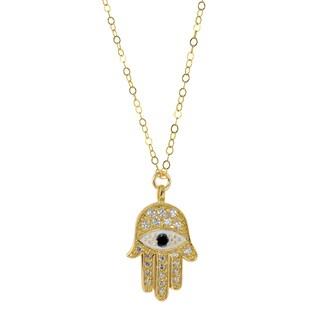 Hamsa Goldtone Brass Charm Necklace