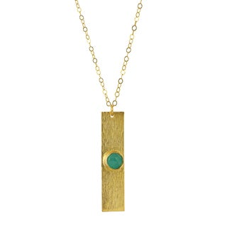 Aqua Chalcedony and Yellow Brass Bar Necklace