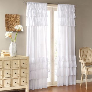 """Madison Park Joycelyn Cotton 84-Inch Oversized Ruffle Curtain Panel 84"""" in White (As Is Item)"""