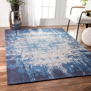nuLOOM Handmade Flatweave Cotton Casual Overdyed Blue Rug (7'6 x 9'6)