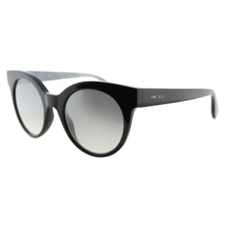 Jimmy Choo JC Mirta Q3M Black Plastic Cat-Eye Silver Mirror Lens Sunglasses