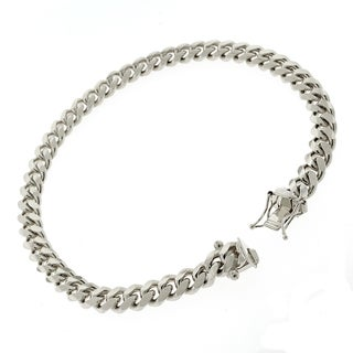 Rhodium-plated Sterling Silver 6mm Solid Miami Cuban Link Bracelet