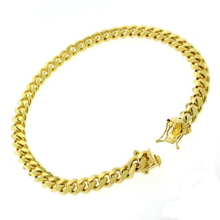 Goldplated Sterling Silver 6mm Solid Miami Cuban Link Bracelet