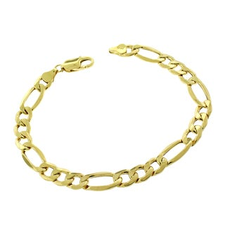 10k Yellow Gold Men's 8 mm Hollow Figaro Link Fancy Chain Bracelet