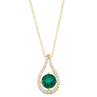 Gioelli Yellow Gold over Silver Lab Created Emerald and Lab Created White Sapphire Accent Pendant