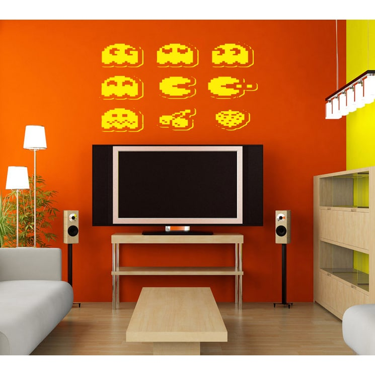 Computer toys and monsters Wall Art Sticker Decal Yellow ...
