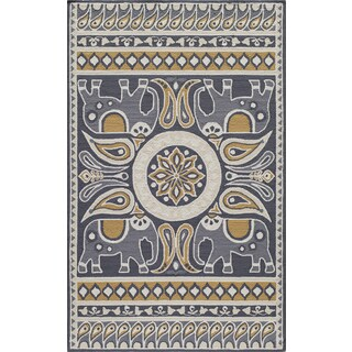 Momeni Veranda Gold Lucky Elephant Indoor/Outdoor Rug (3'9 X 5'9)