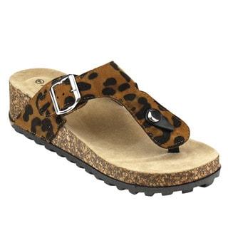 ANNA STUDIO-1 Women's Black and Tan Faux Leather and Suede Padded T-strap Cork Wedges