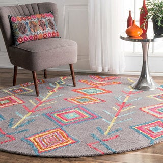 nuLOOM Contemporary Handmade Wool/ Viscose Moroccan Triangle Grey Rug (6' Round)