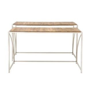 Benzara Silver/Brown Stainless Steel and Wood Console Table (Set of 2)