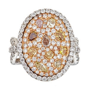 18KT Gold Fancy Color 3.95 TDW Yellow Pink Brown and White Diamond Ring