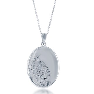 La Preciosa Sterling Silver Floral Design Oval Locket