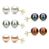 DaVonna Yellow Gold over Sterling Silver Round Cultured Freshwater Pearl Stud Earring (7-8 mm)
