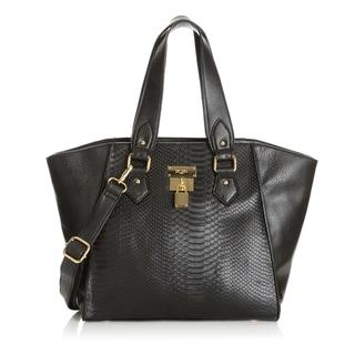 BCBG Paris Croco-embossed Lock Tote Handbag