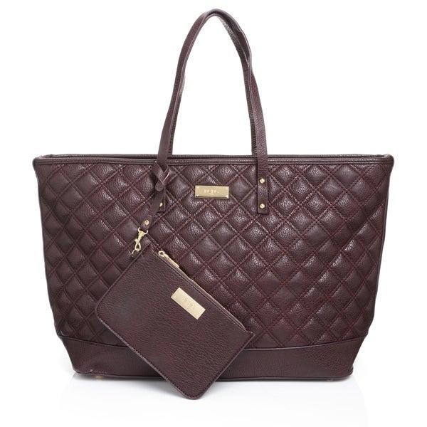 Shop Bcbg Paris Quilted Merlot Zippered Tote Handbag