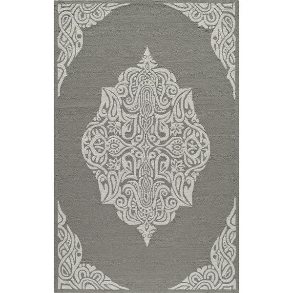 Momeni Veranda Grey Medallion Indoor/Outdoor Rug (8' X 10') - 8' x 10'